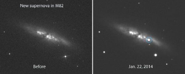 Яркая сверхновая взорвалась в близлежащей галактике Сигара