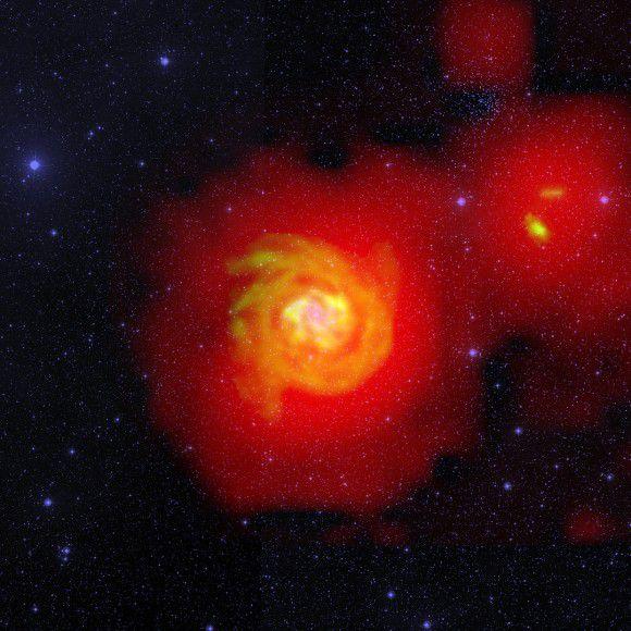Галактика-вампир питается водородом соседних галактик