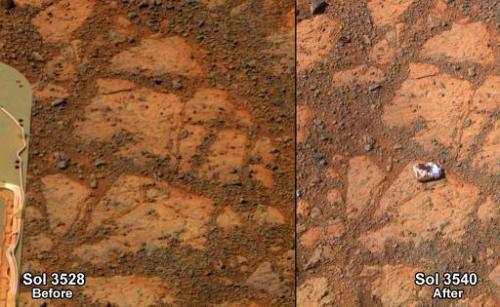 Ученые нашли объяснение появлению загадочного камня, обнаруженного Opportunity