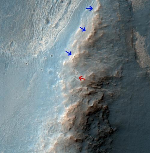 Орбитальный зонд MRO: вид сверху на марсоход  Opportunity