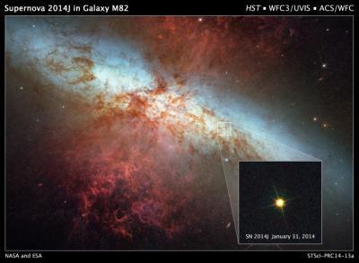 Hubble следит за сверхновой в галактике М82