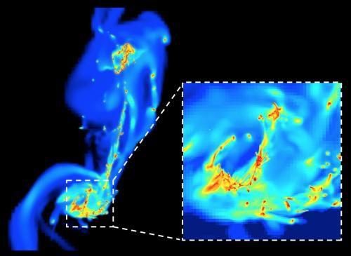 Турбулентное рождение звезд в сливающихся галактиках