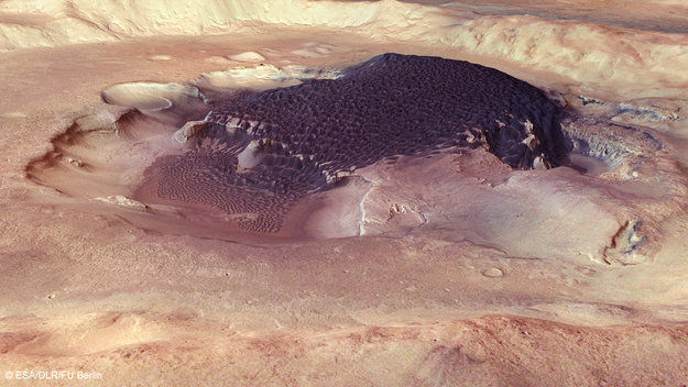 Каскад дюн в марсианском кратере