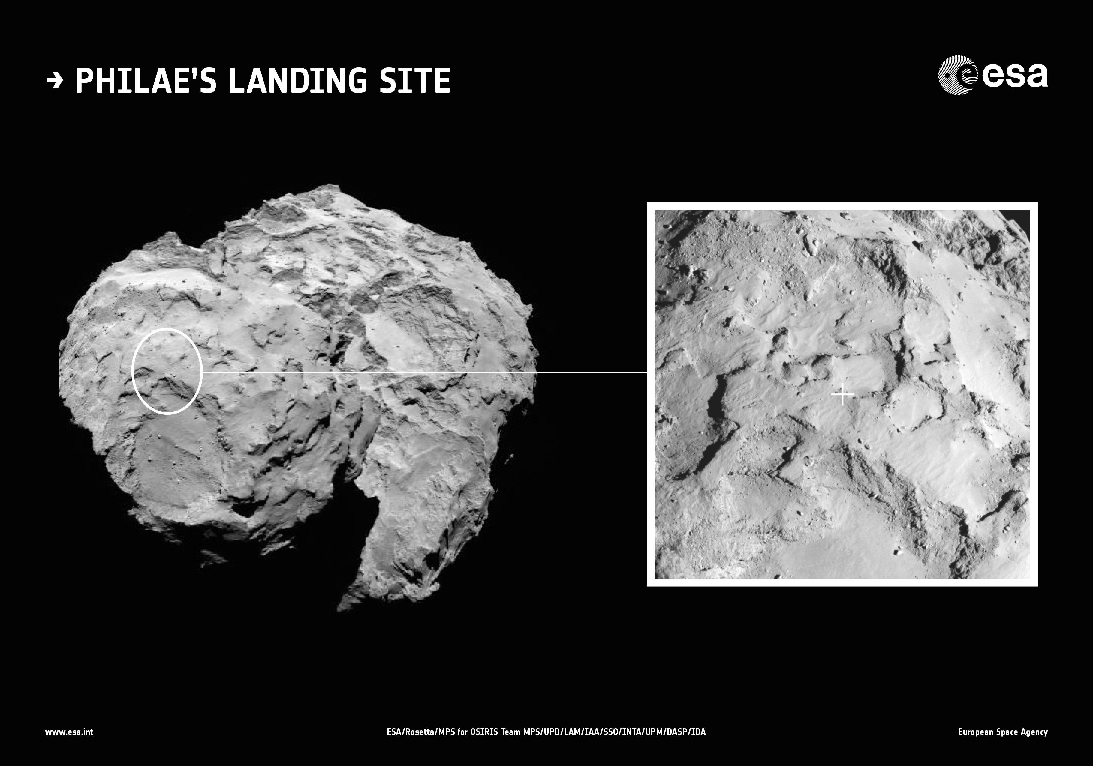 На комете 67P/Чурюмова-Герасименко выбрано место для посадки