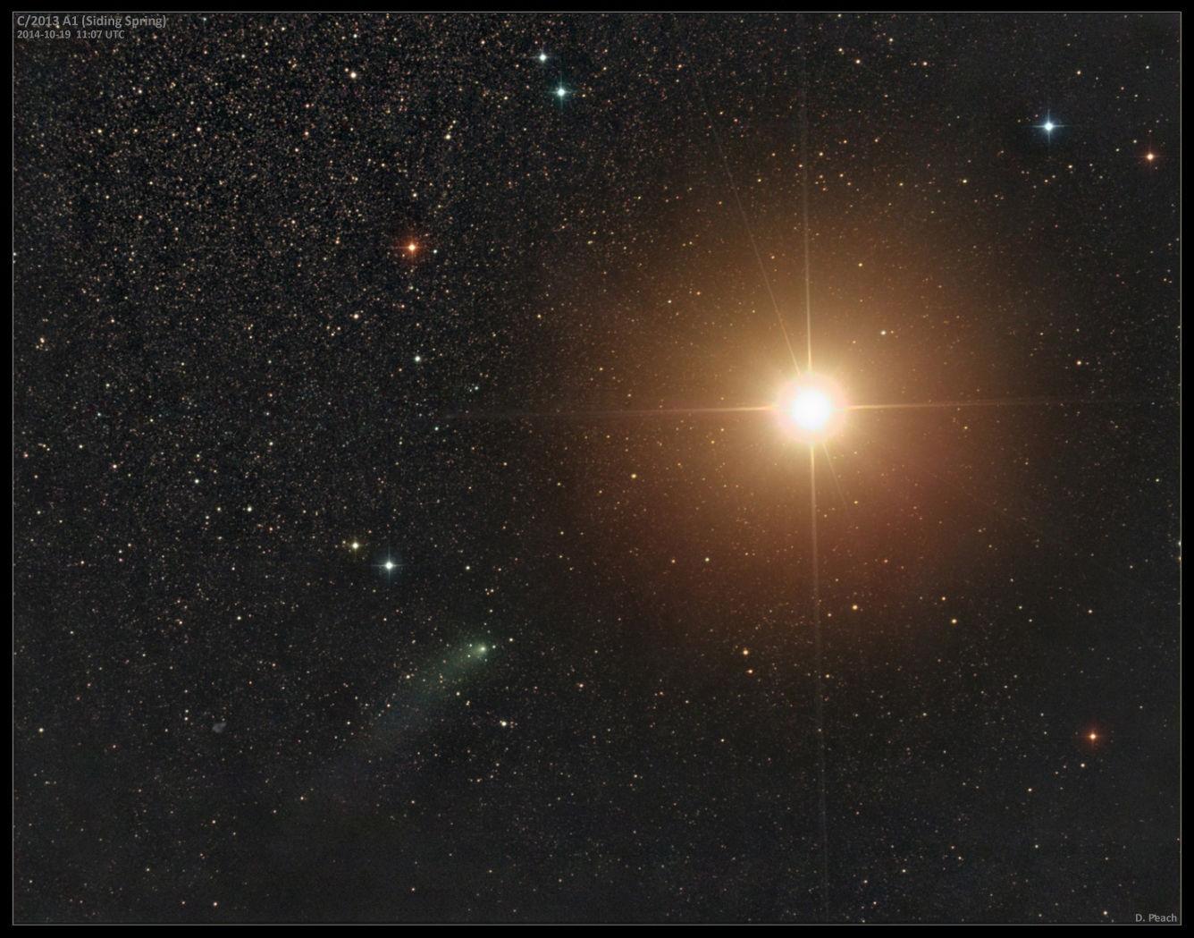 Астрофотограф запечатлел приближающуюся к Марсу комету Siding Spring