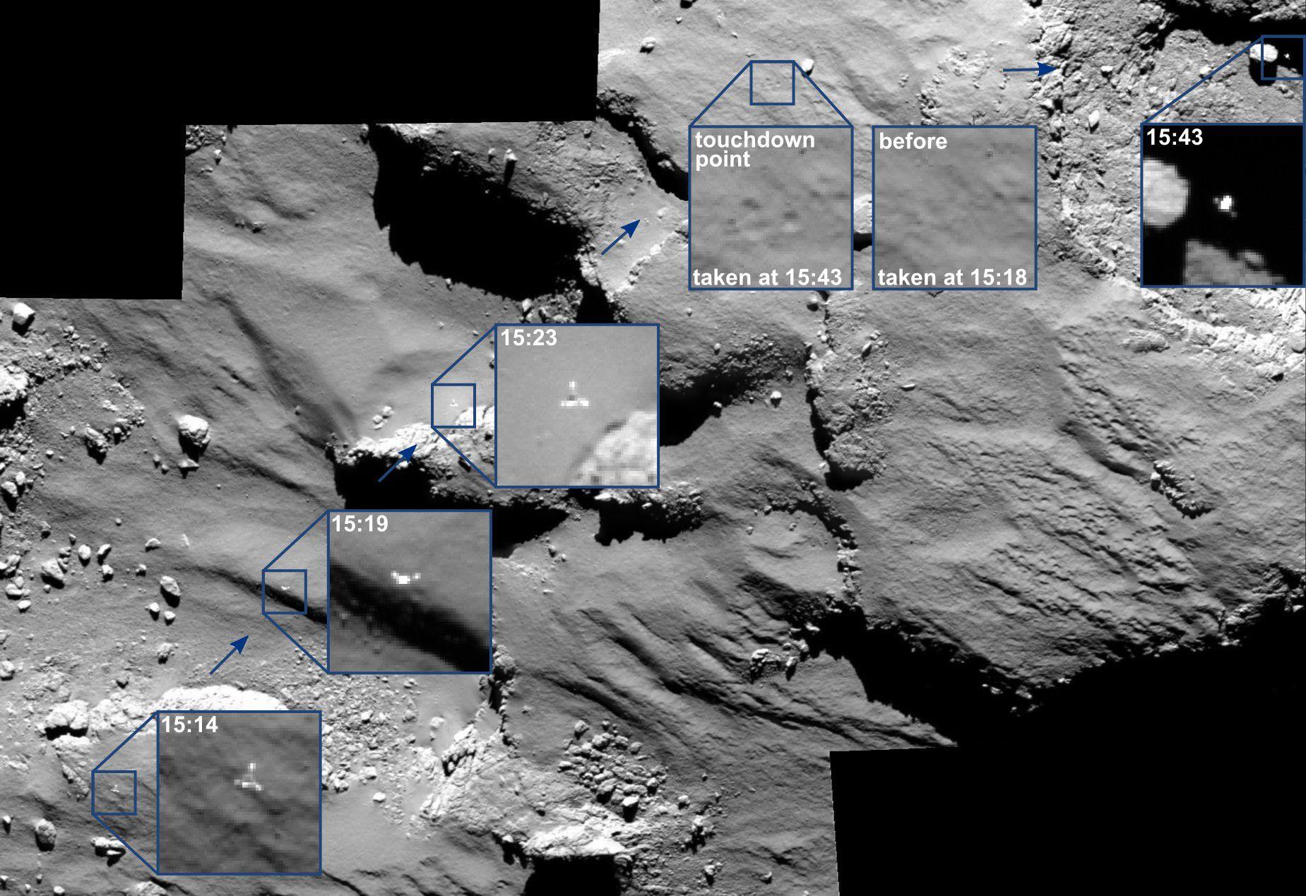 Камера OSIRIS помогла установить траекторию спуска модуля Филы