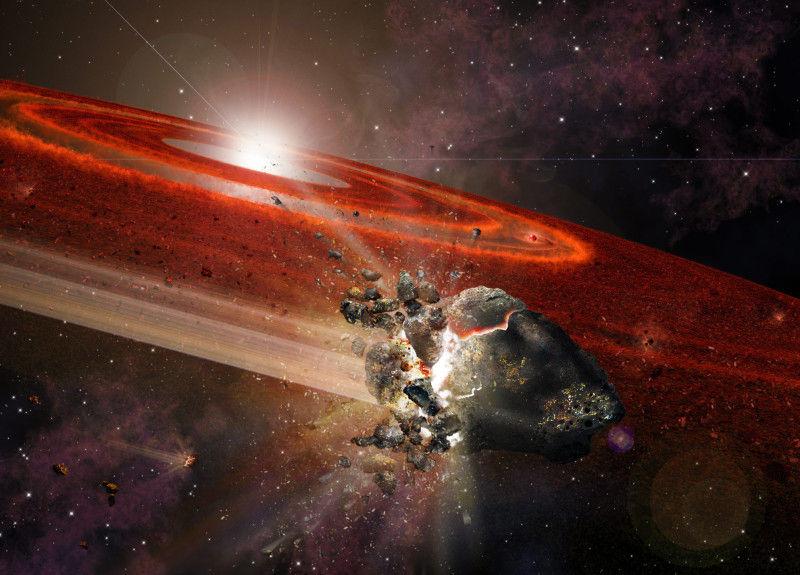 Полчища объектов поднимают пыль вокруг подростка-звезды, подобной Солнцу