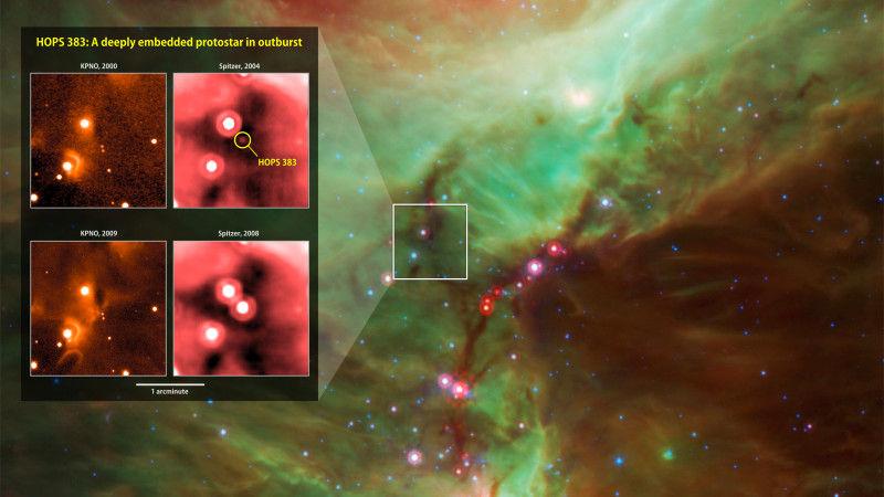 Спутники НАСА зафиксировали излучение, идущее от «новорожденной» протозвезды