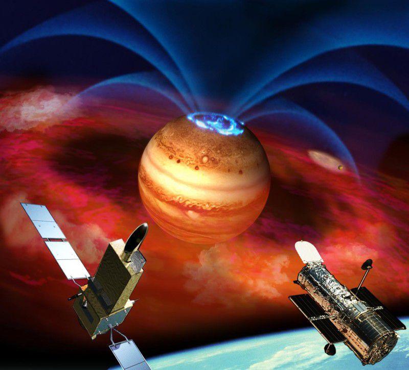 Всполохи полярных сияний на Юпитере оказались связаны с его спутником
