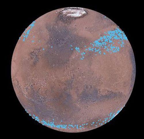 На Марсе имеется пояс ледников, состоящих из замерзшей воды